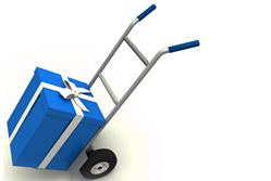 Deploy new IT equipment - gift box on push cart