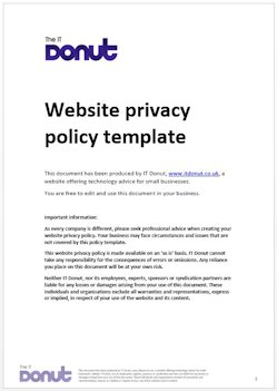Sample website privacy policy template techdonut for Free privacy policy template australia