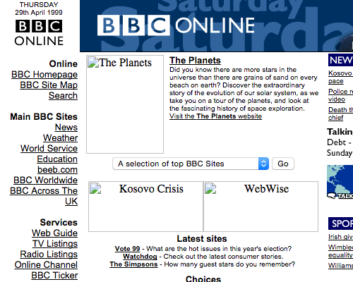 The BBC website from April 1999{{}}