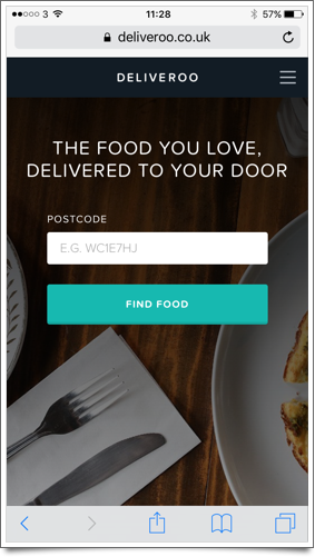 Deliveroo mobile home page
