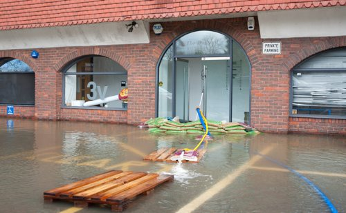 Flooded office in Windsor, UK{{}}