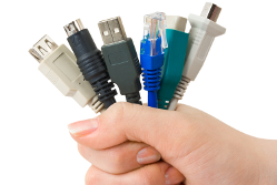 Different computer cables - handful of connectors