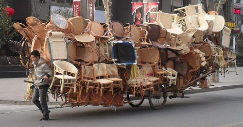 Overloaded hand cart{{}}