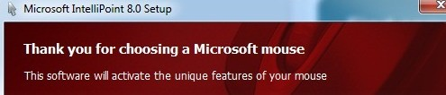 Microsoft mouse error message