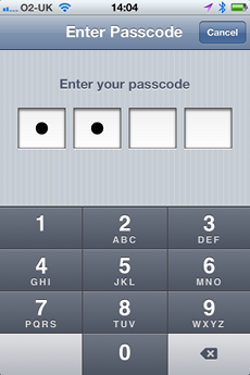 iPhone passcode{{}}