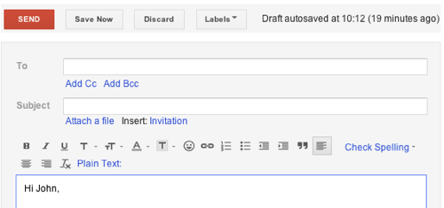 Old Gmail compose interface{{}}