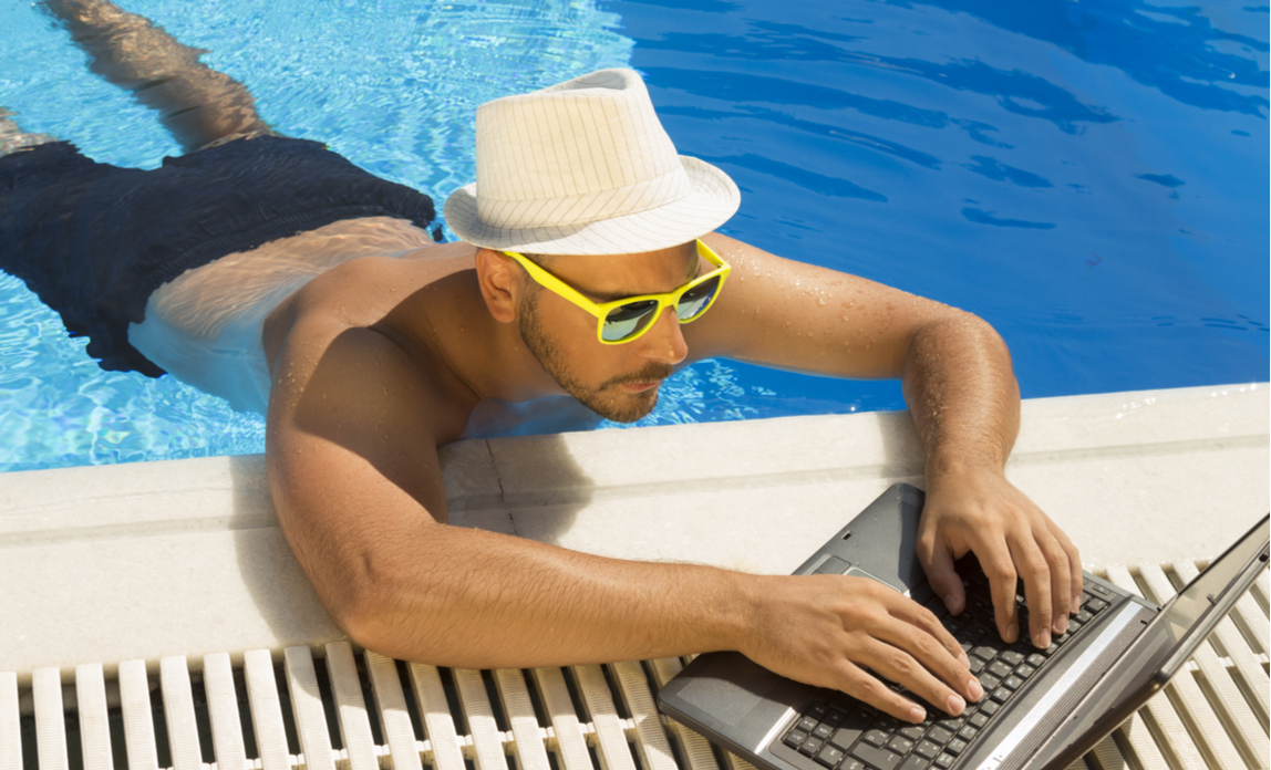 Employee working while on holiday