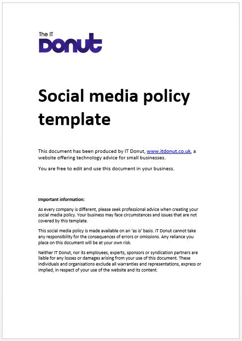 it policies templates - it jobs houston social media policy examples