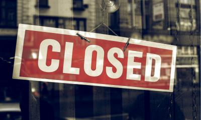 Closed notice on a shop window