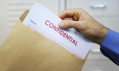 Envelope containing confidential data inside