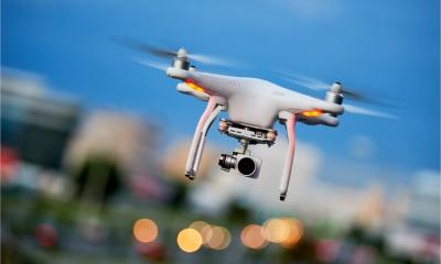 A drone is fitted with a camera to carry out surveillance