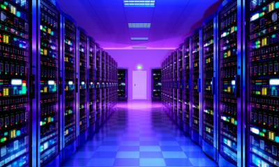 Row of servers in a purple lit room