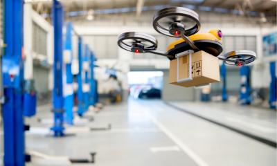 Delivery drone at an automotive storage centre. Modern innovative technology and gadgets.