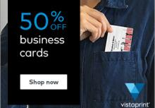 VistaPrint 50% off business cards offer image